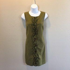 Womens Olive Green Trina Terk Ruffle Dress 8